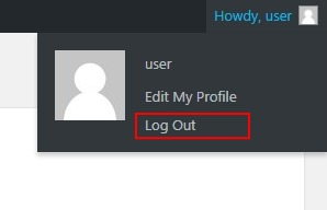 Logout of WordPress top right of the screen