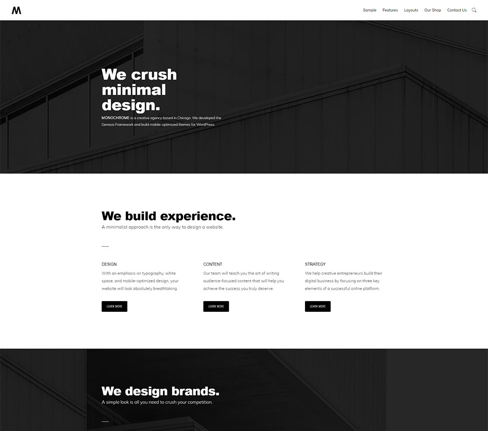 Monochrome Pro Theme one of the Affordable small business websites from Site2go
