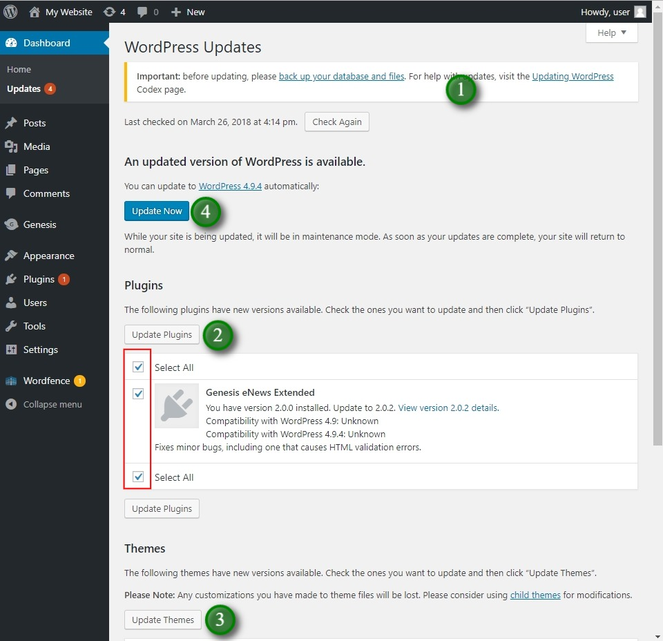 Hover over the Dashboard tab to find the update WordPress options