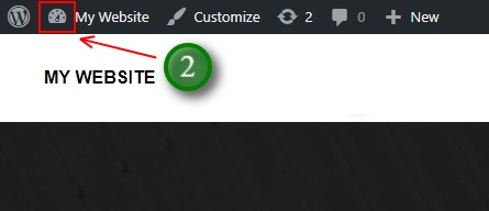 The gauge icon tells you that you are viewing the live site or front end