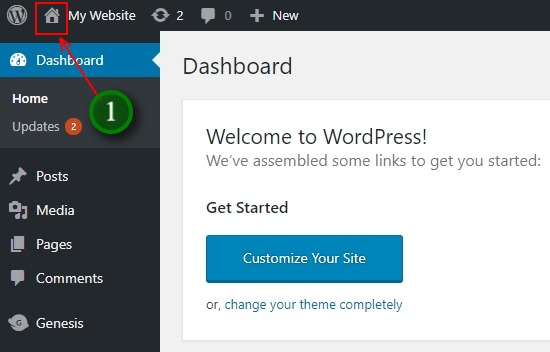 The house icon tells you you are in the WordPress Dashboard