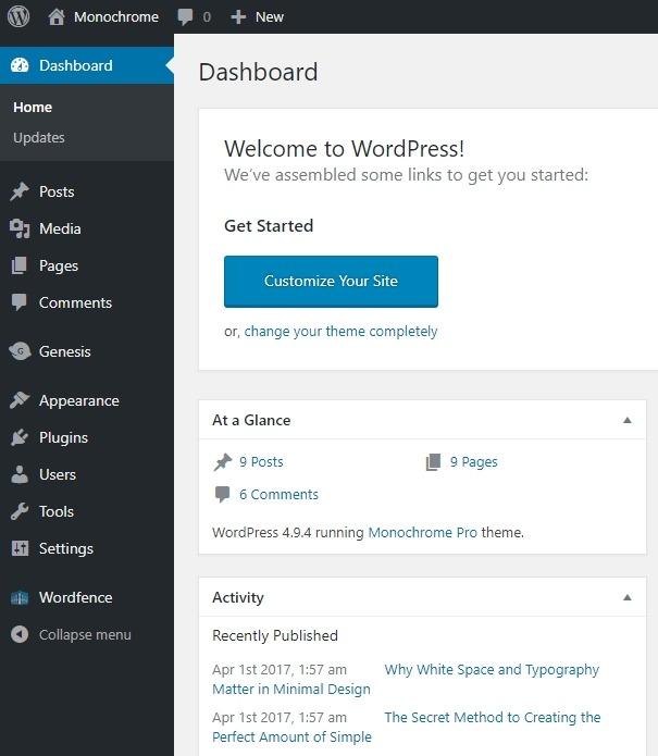 The WordPress Dashboard or Backend